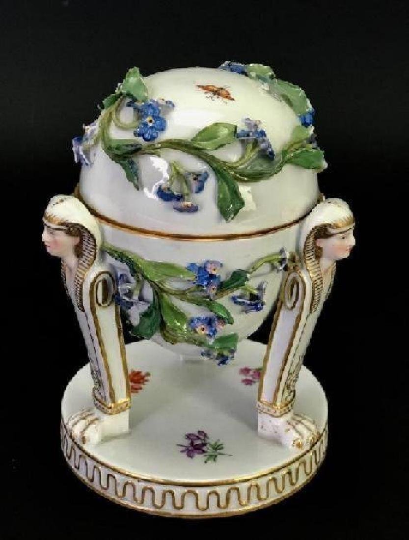 19TH C. MEISSEN FORGET ME NOT FLOWER ENCRUSTED EGG - 2