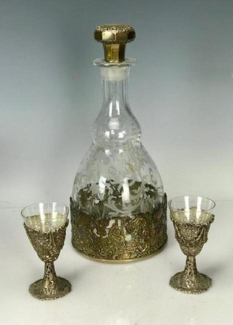 STERLING SILVER AND ETCHED GLASS LIQUOR SET