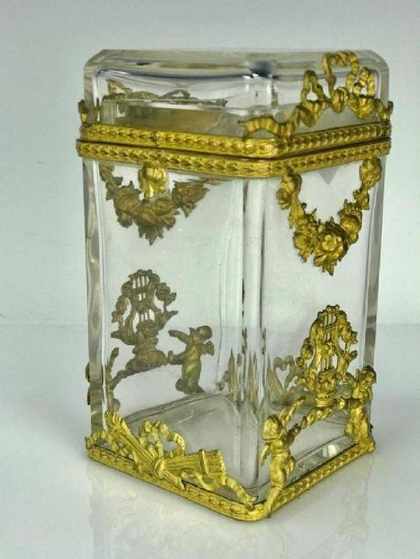 DORE BRONZE AND BACCARAT CRYSTAL BOX AND COVER