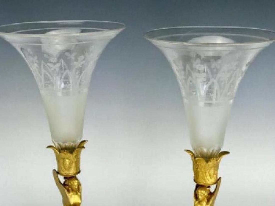 PAIR OF DORE BRONZE AND BACCARAT CRYSTAL VASES - 2