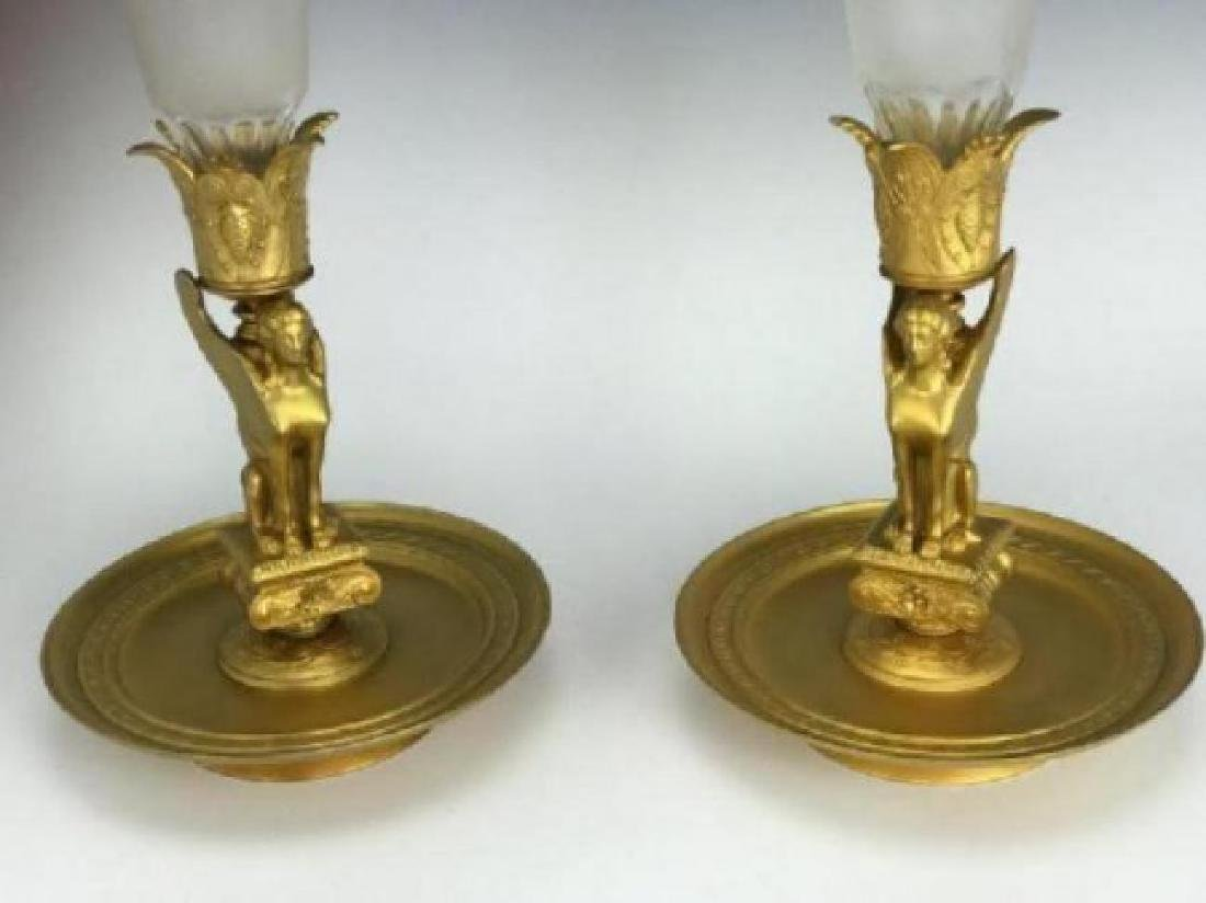 PAIR OF DORE BRONZE AND BACCARAT CRYSTAL VASES - 3