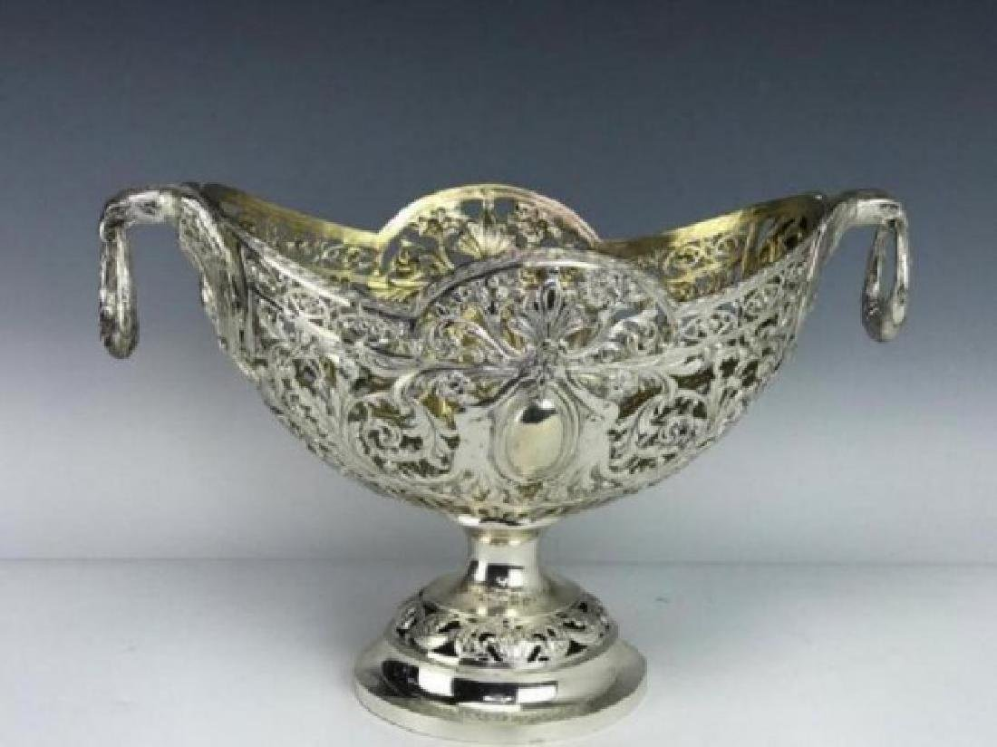 LARGE CONTINENTAL SILVER RETICULATED BASKET