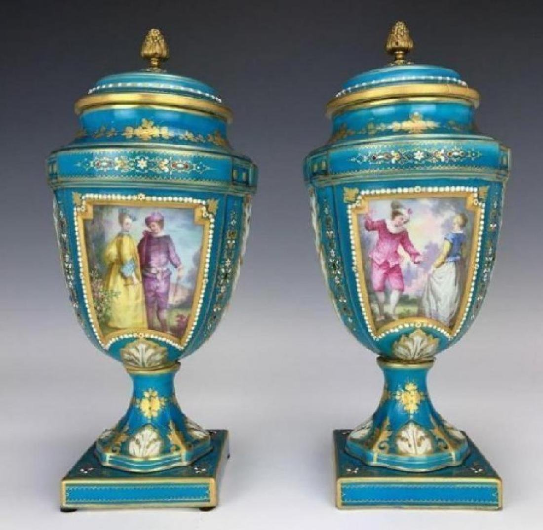 PAIR OF 19TH CENTURY JEWELLED SEVRES VASES AND COVERS