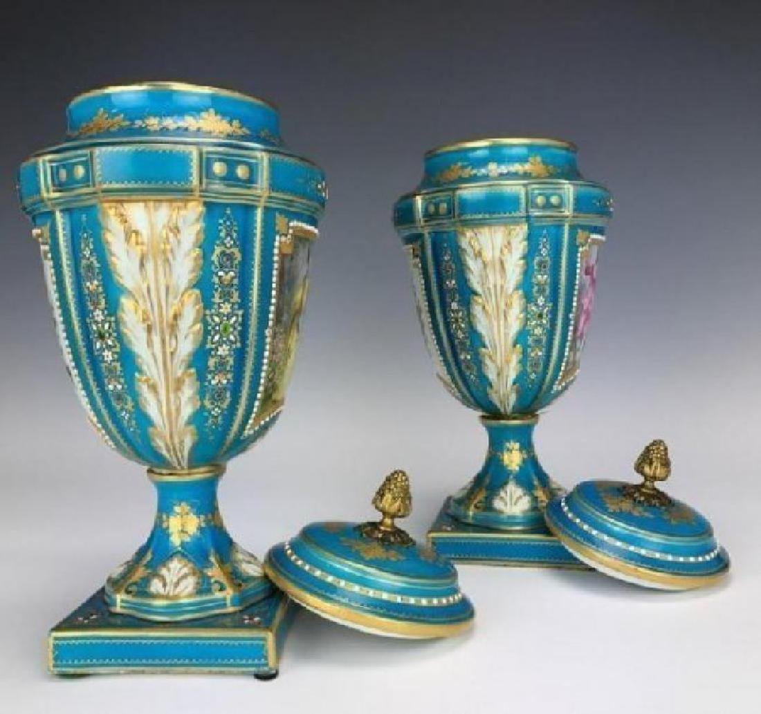 PAIR OF 19TH CENTURY JEWELLED SEVRES VASES AND COVERS - 3