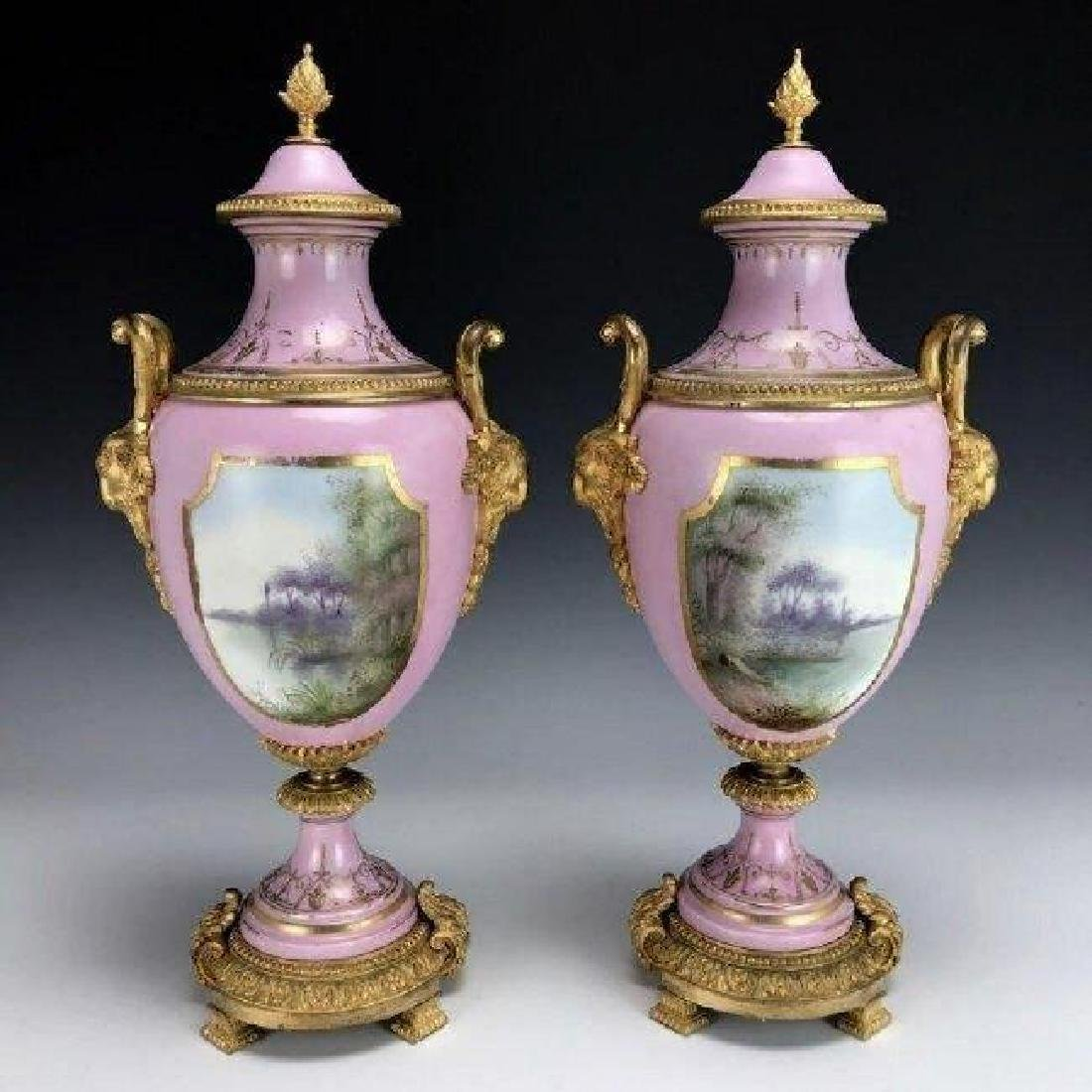 PAIR OF 19TH CENTURY DORE BRONZE MOUNTED SEVRES VASES - 2