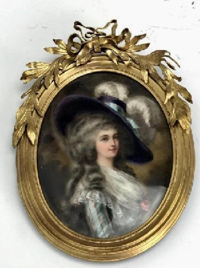 FINE HAND PAINTED MINIATURE WITH DORE BRONZE FRAME