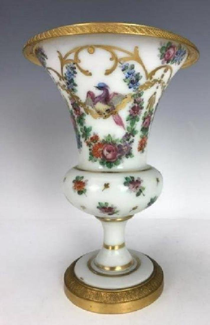 19TH C. ORMOLU MOUNTED BACCARAT OPALINE GLASS VASE