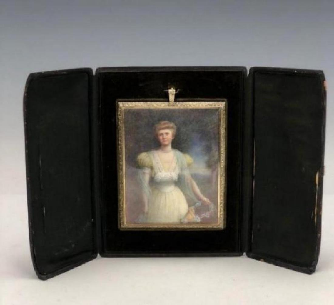 19TH C. MINIATURE PAINTING IN A GOLD OVER SILVER FRAME