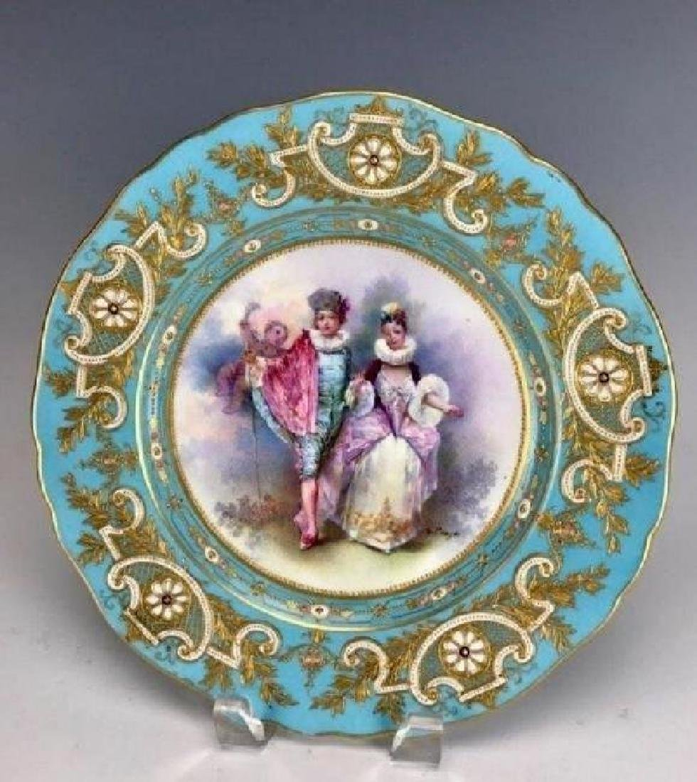 A MAGNIFICENT 19TH C. JEWELLED SEVRES PLATE