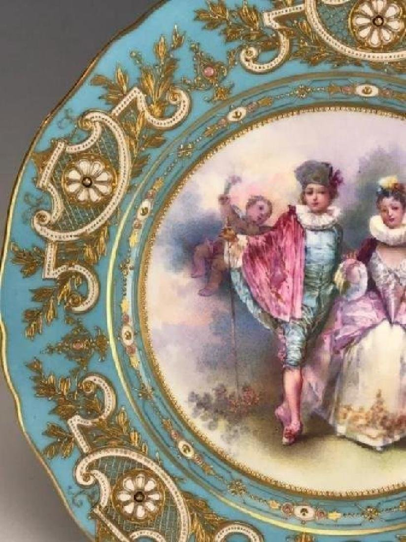 A MAGNIFICENT 19TH C. JEWELLED SEVRES PLATE - 2