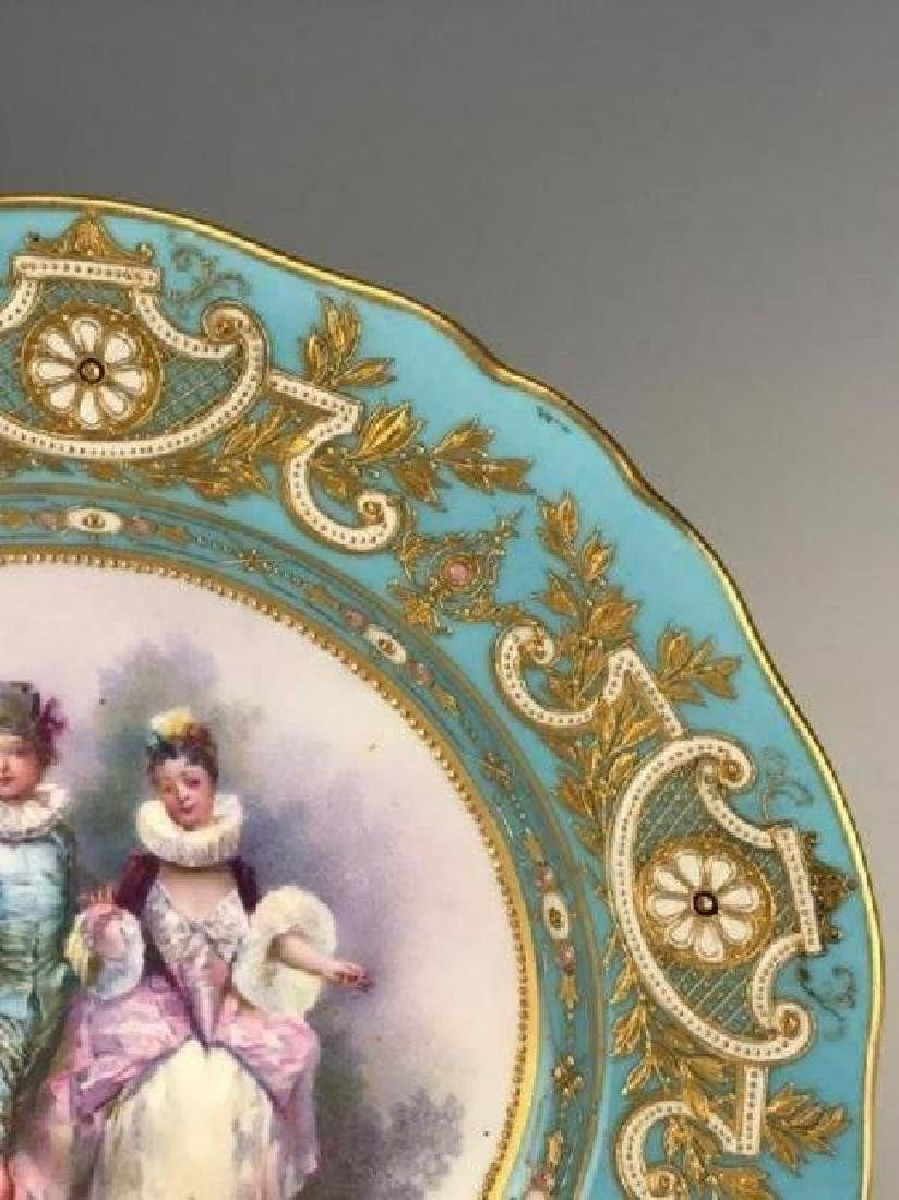 A MAGNIFICENT 19TH C. JEWELLED SEVRES PLATE - 3