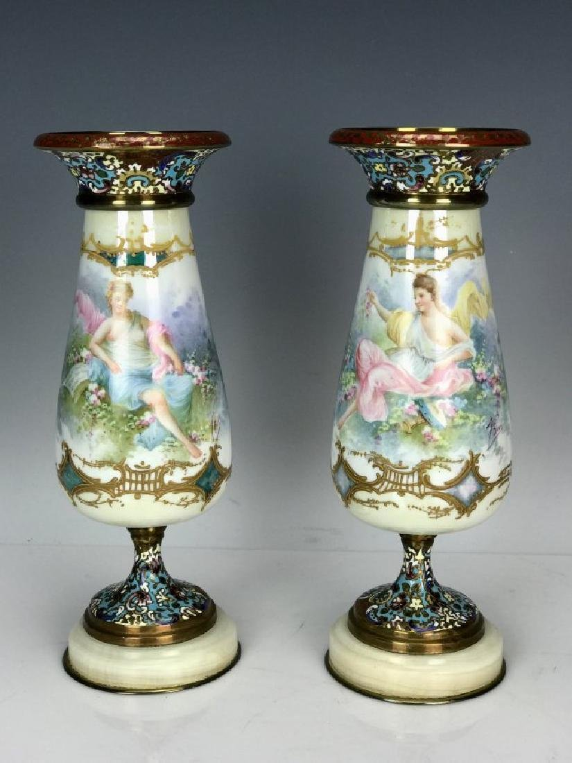 PAIR OF 19TH C. SEVRES AND CHAMPLEVE ENAMEL VASES