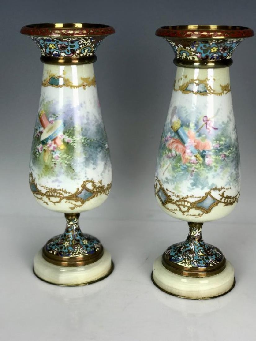 PAIR OF 19TH C. SEVRES AND CHAMPLEVE ENAMEL VASES - 2