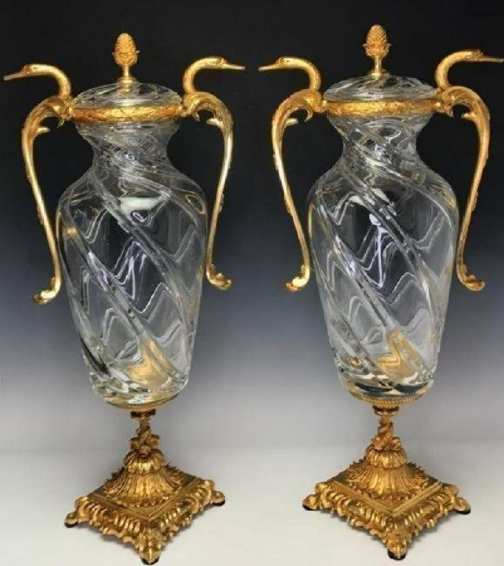 LARGE PAIR OF SIGNED BACCARAT ORMOLU MOUNTED VASES