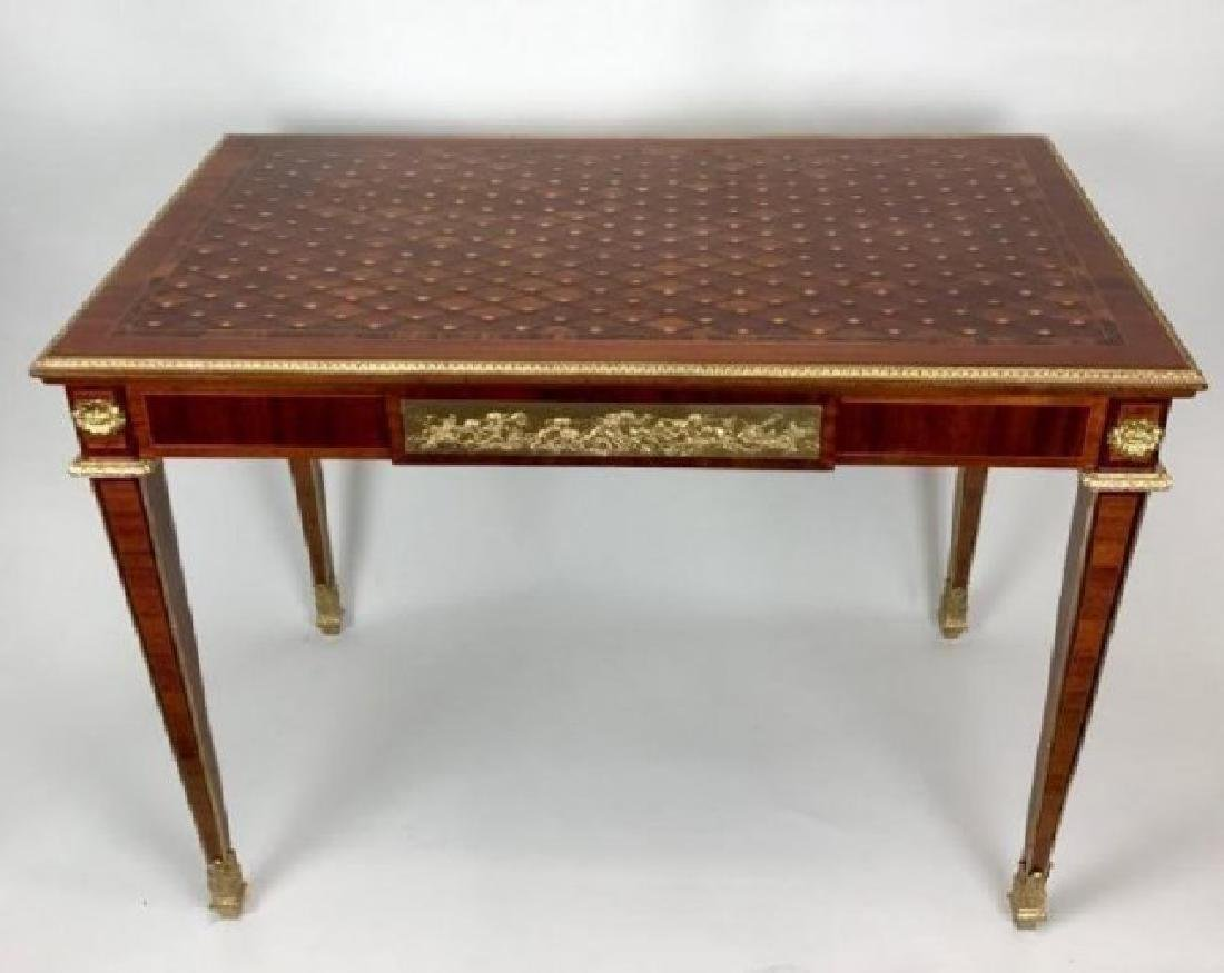 19TH CENTURY FRENCH PARQUETRY TOP ORMOLU MOUNTED DESK