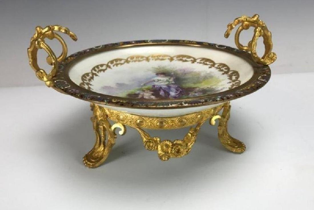 19TH C. CHAMPLEVE ENAMEL & SEVRES BOWL