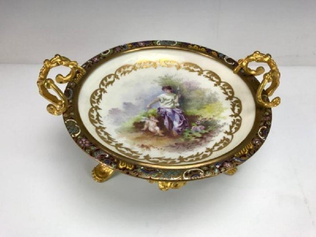 19TH C. CHAMPLEVE ENAMEL & SEVRES BOWL - 2