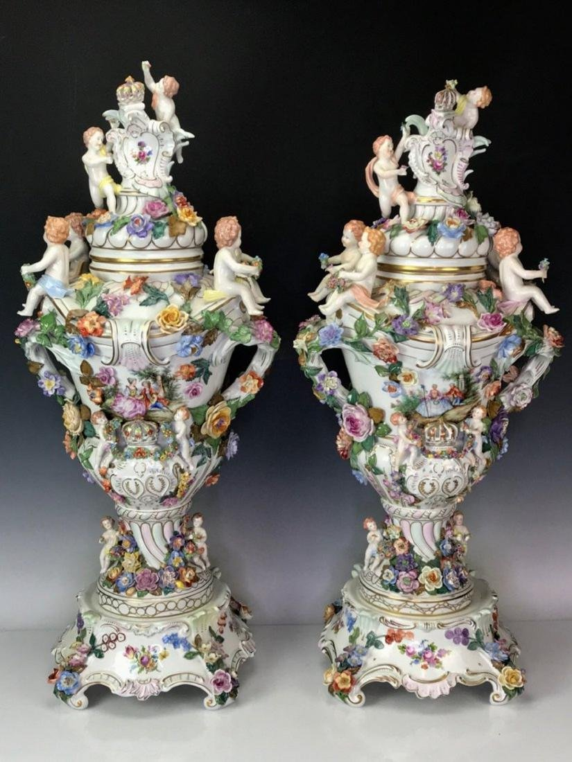 A PALATIAL PAIR OF GERMAN DRESDEN PORCELAIN VASES