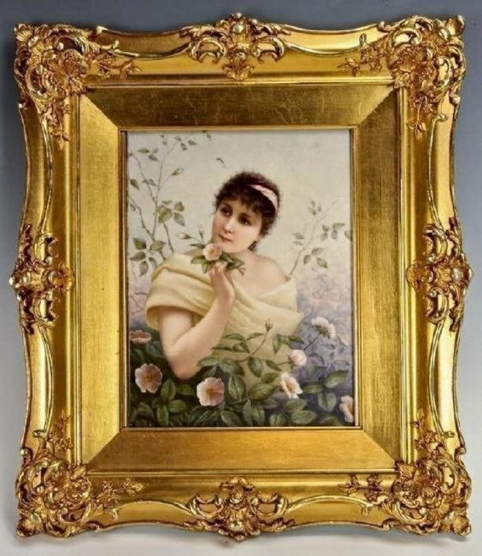 "GOOD BERLIN KPM PORCELAIN PLAQUE 10"" x 8"""