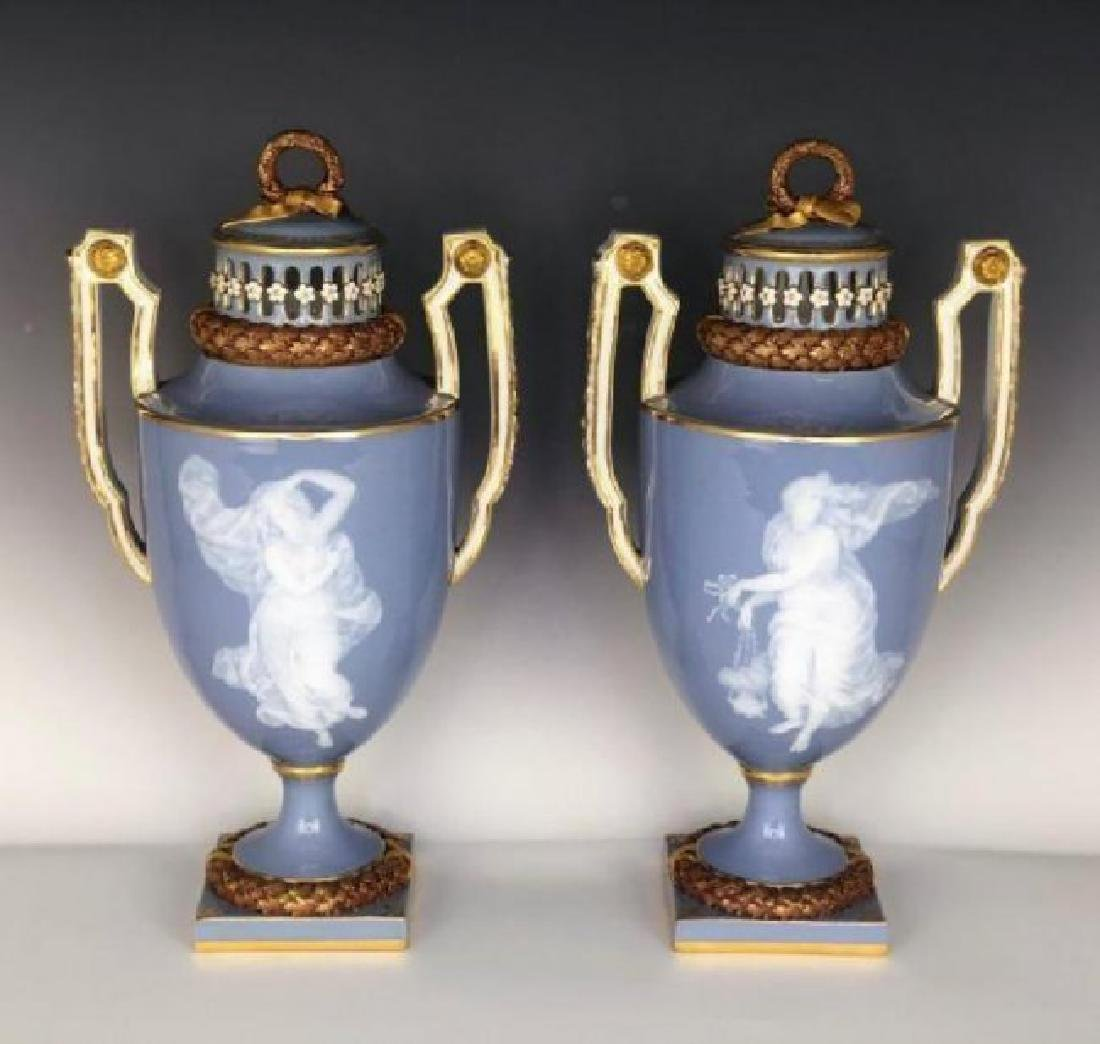 MAGNIFICENT PAIR OF 19TH C. MEISSEN PATE SUR PATE VASES
