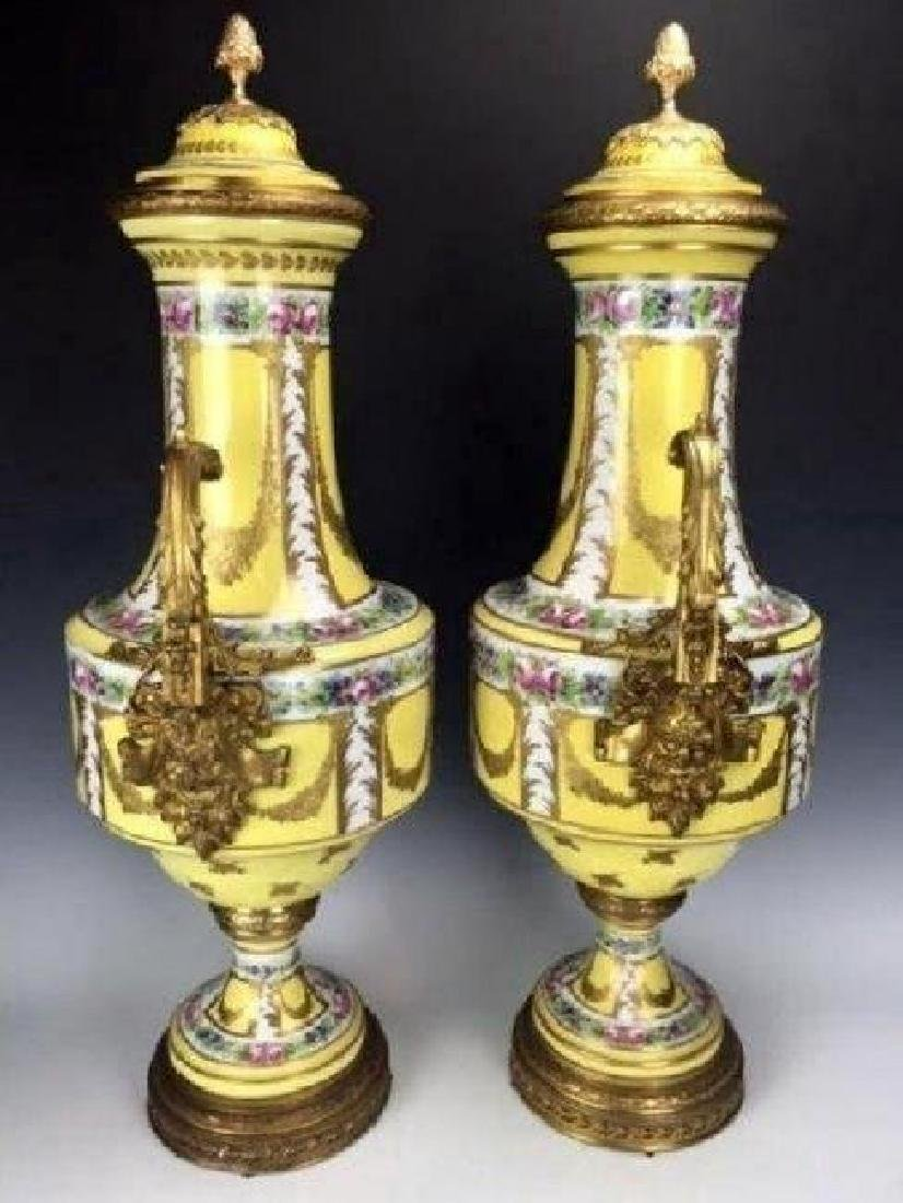 PAIR OF ORMOLU MOUNTED SEVRES STYLE PORCELAIN VASES - 2