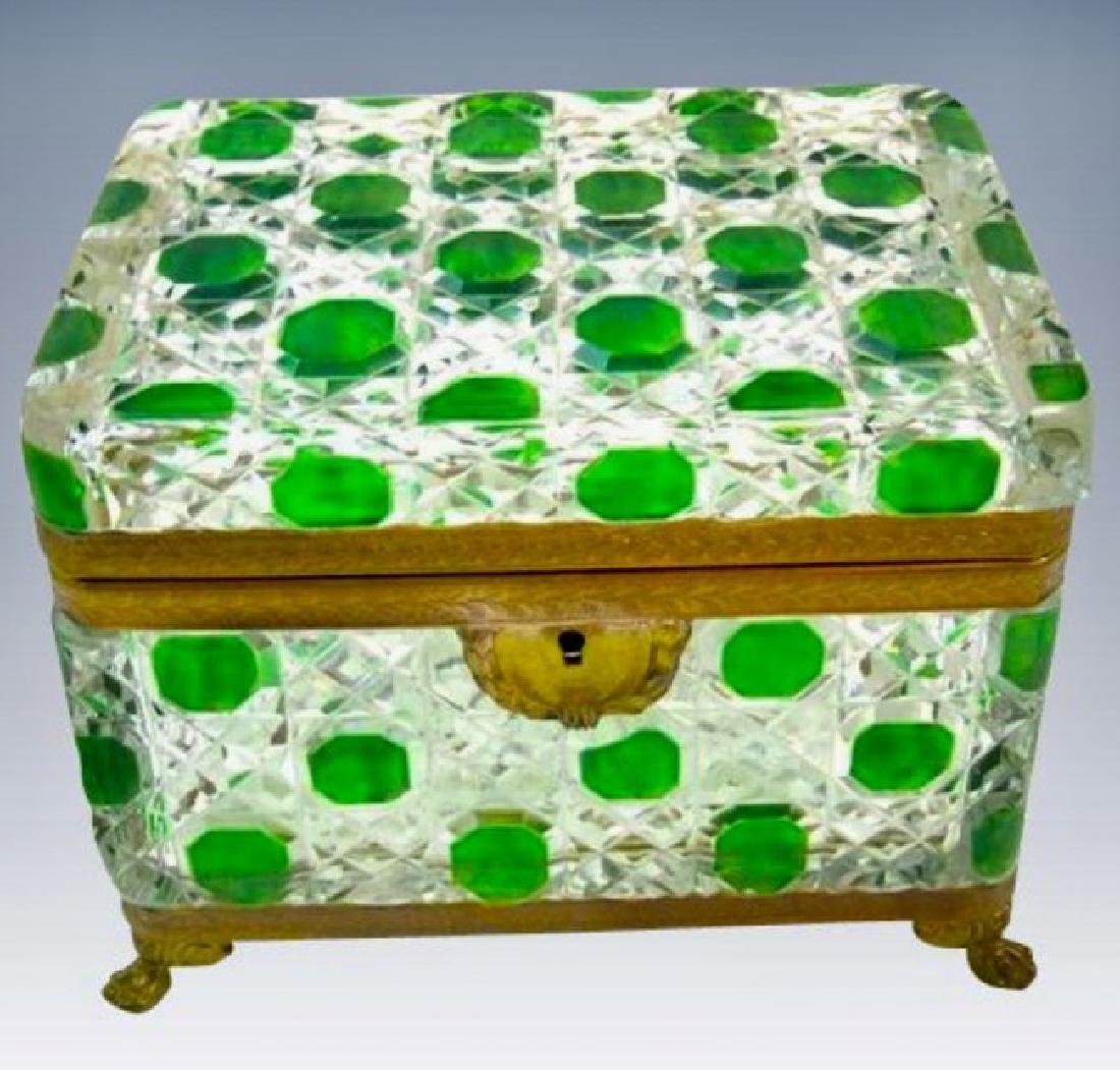 ORMOLU MOUNTED BACCARAT GLASS JEWLRY BOX