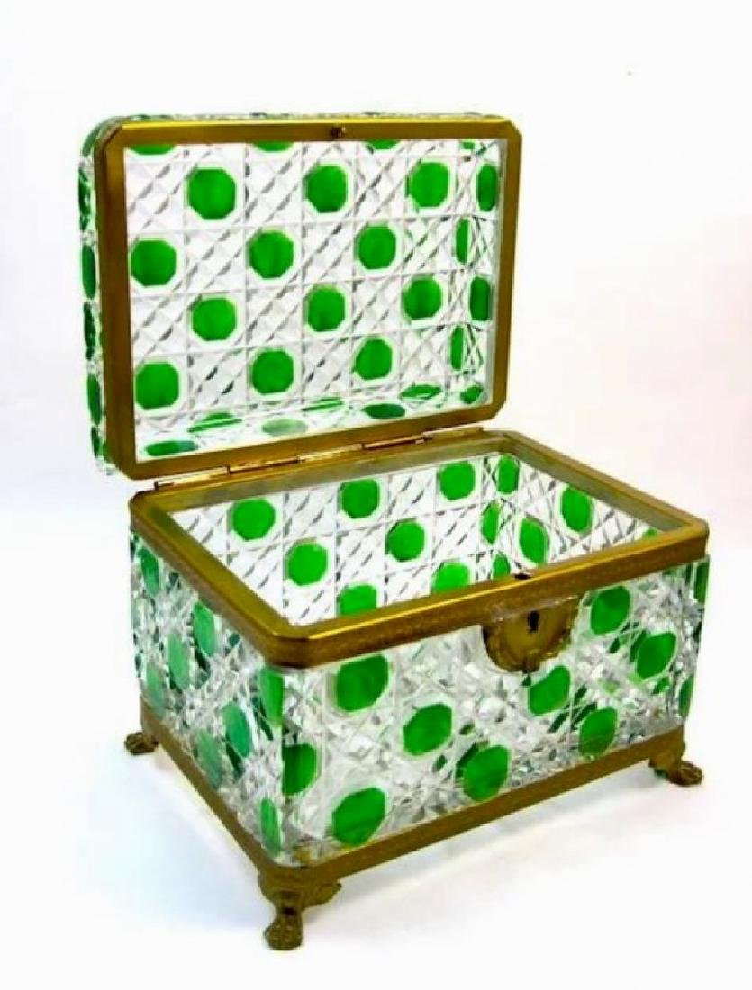 ORMOLU MOUNTED BACCARAT GLASS JEWLRY BOX - 2