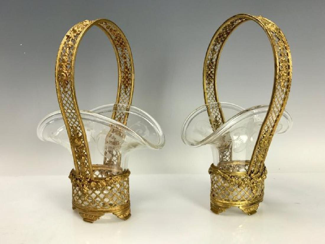 A PAIR ETCHED BACCARAT CRYSTAL AND DORE BRONZE BASKETS