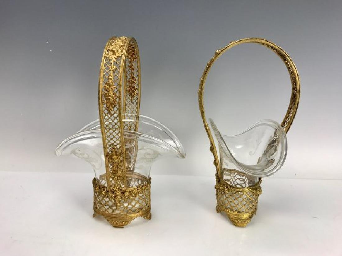 A PAIR ETCHED BACCARAT CRYSTAL AND DORE BRONZE BASKETS - 2