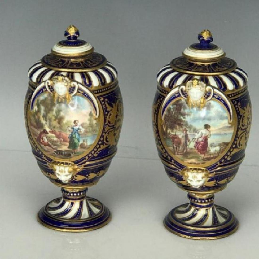 A PAIR OF 19TH C. SEVRES PORCELAIN VASES