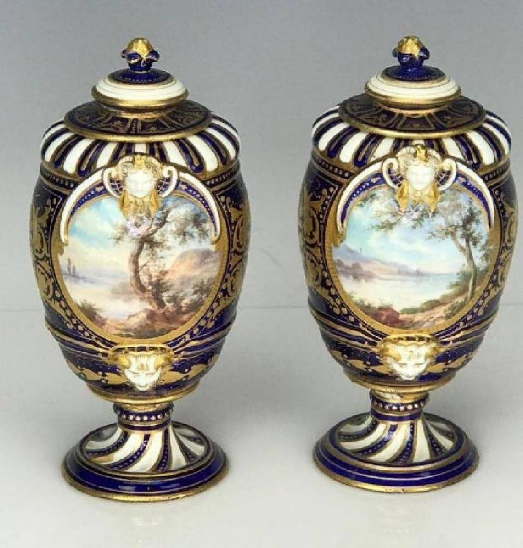 A PAIR OF 19TH C. SEVRES PORCELAIN VASES - 2