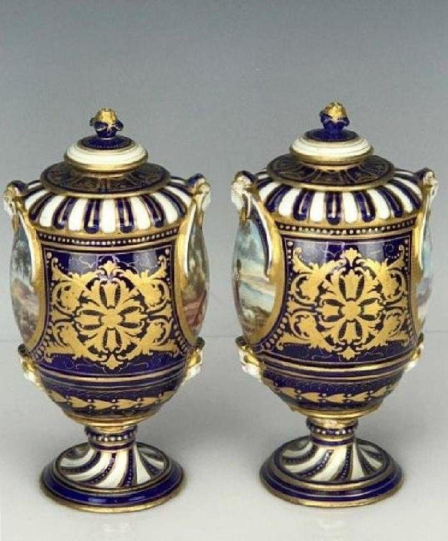 A PAIR OF 19TH C. SEVRES PORCELAIN VASES - 3