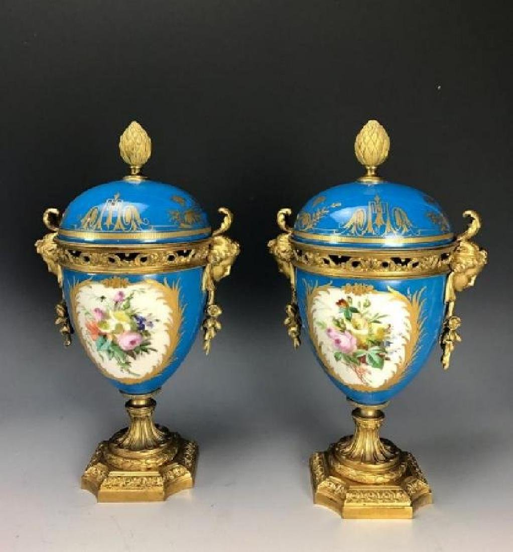 A PAIR OF 19TH C. ORMOLU MOUNTED SEVRES VASES - 2