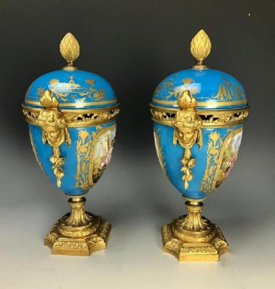 A PAIR OF 19TH C. ORMOLU MOUNTED SEVRES VASES - 3