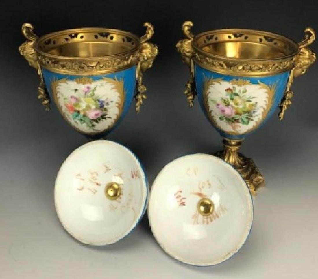 A PAIR OF 19TH C. ORMOLU MOUNTED SEVRES VASES - 4