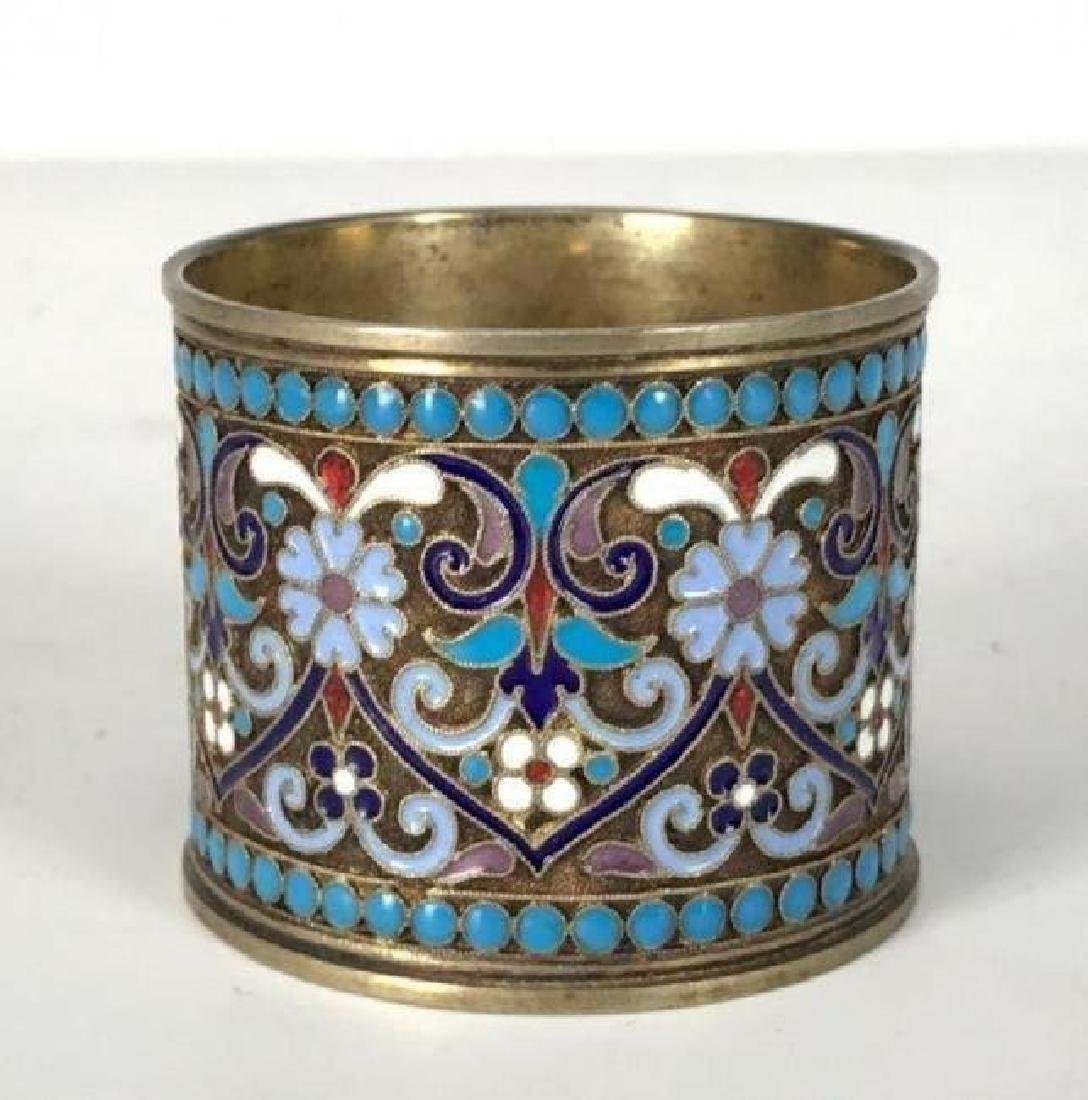 RUSSIAN GILT SILVER AND ENAMEL NAPKIN HOLDER