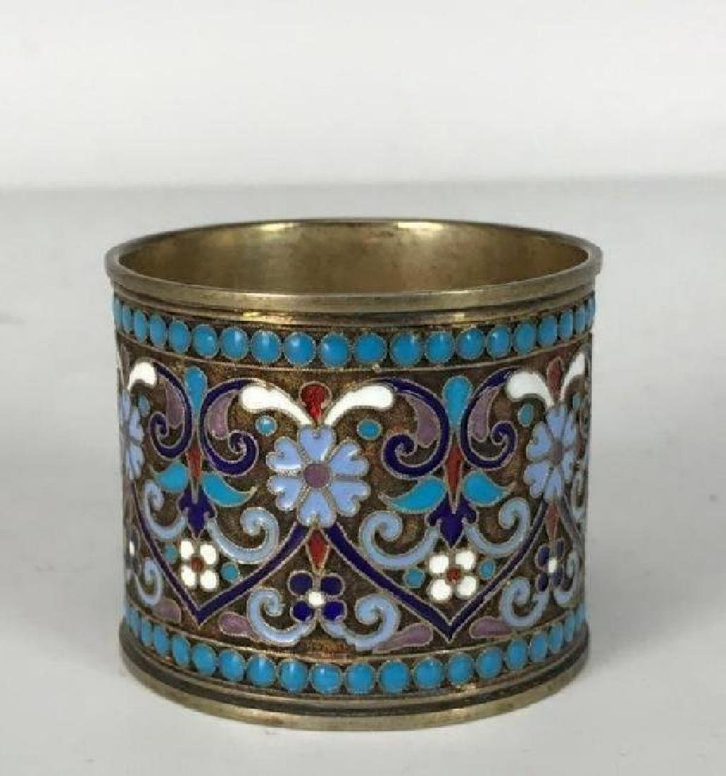 RUSSIAN GILT SILVER AND ENAMEL NAPKIN HOLDER - 2