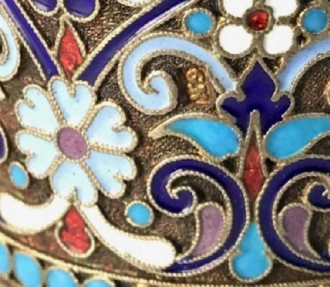 RUSSIAN GILT SILVER AND ENAMEL NAPKIN HOLDER - 3