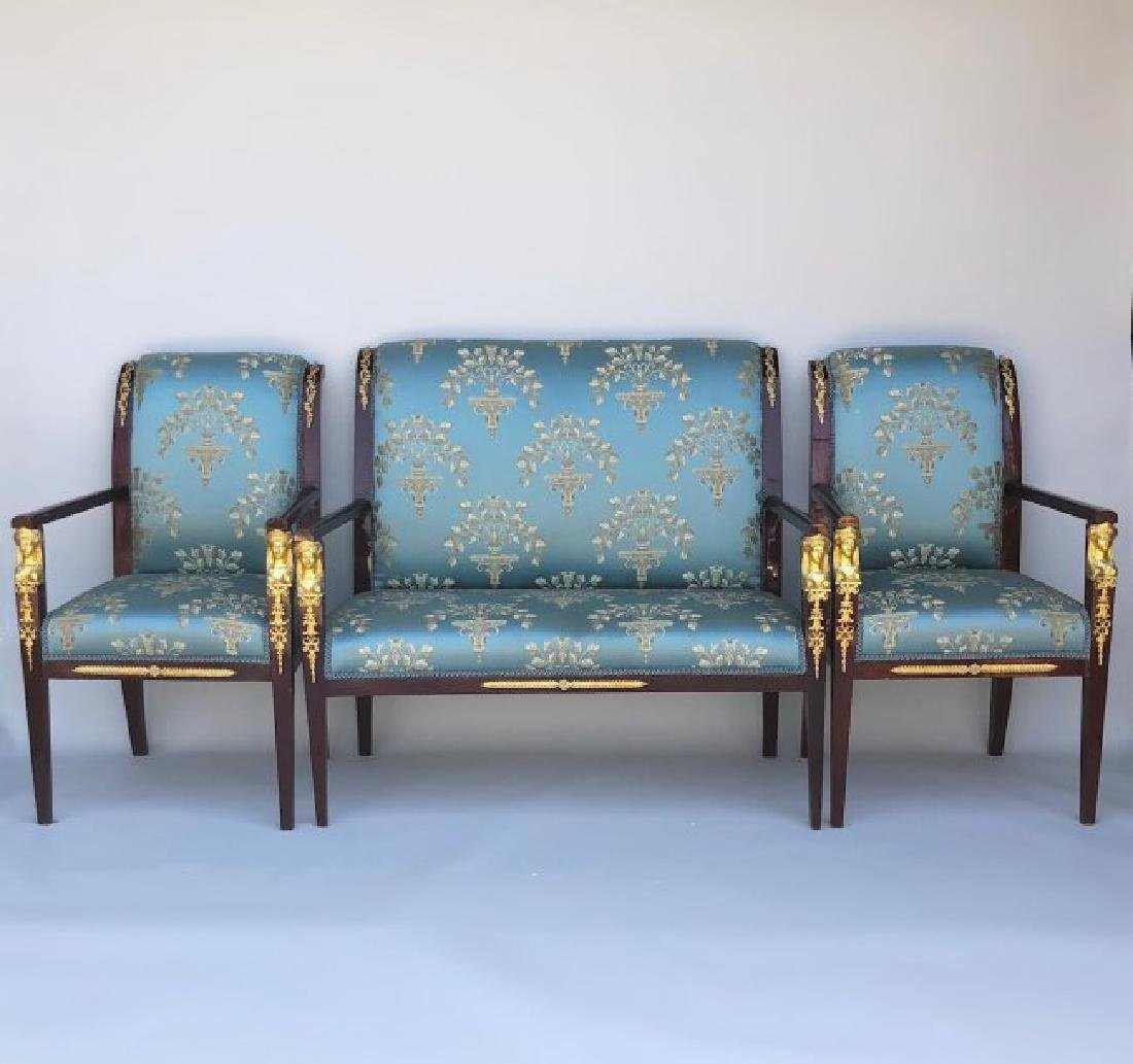 EMPIRE STYLE DORE BRONZE MOUNTED COUCH SET