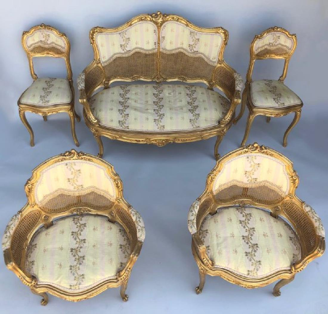 A MAGNIFICENT 5 PIECE GILTWOOD SALON SET CIRCA 1880