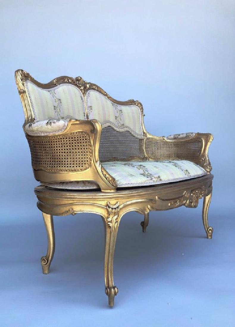 A MAGNIFICENT 5 PIECE GILTWOOD SALON SET CIRCA 1880 - 3