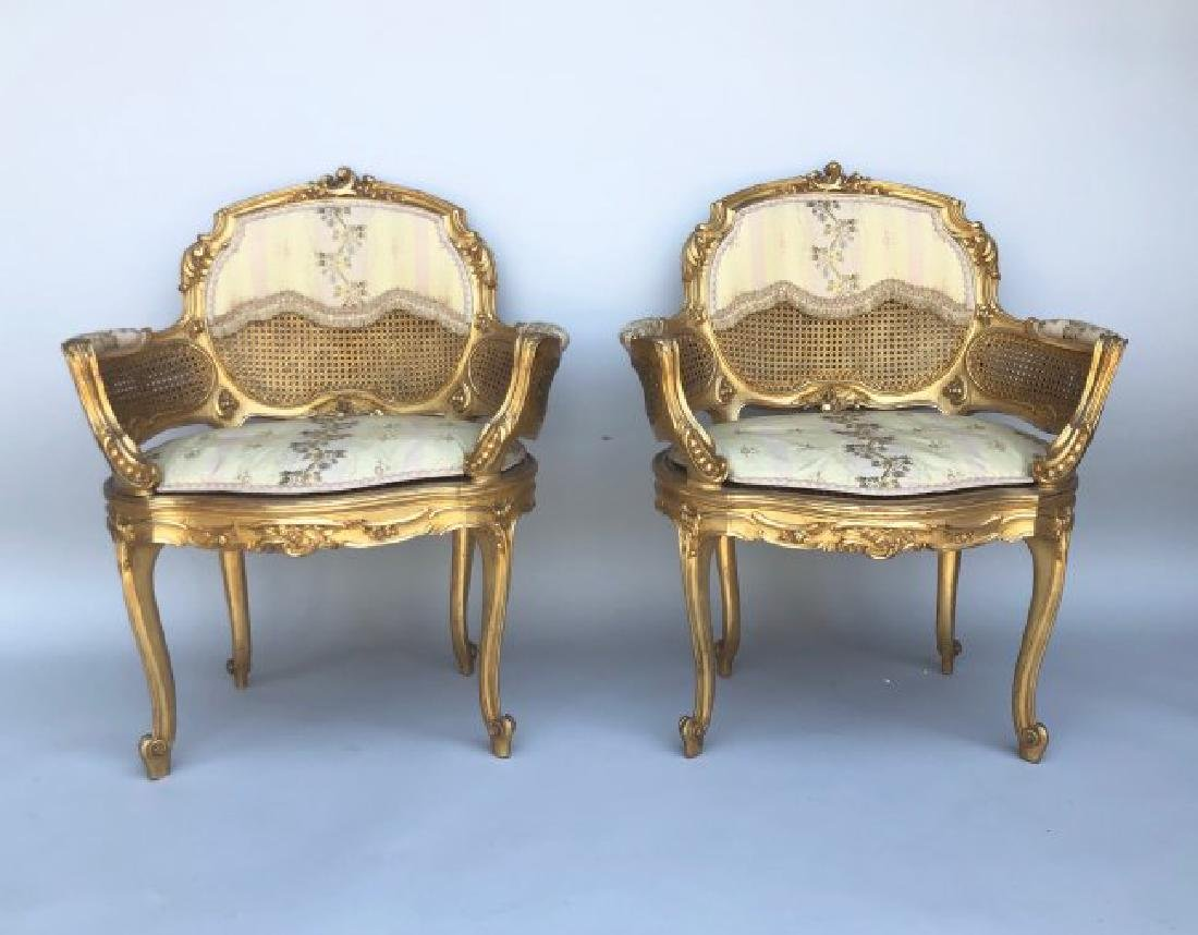 A MAGNIFICENT 5 PIECE GILTWOOD SALON SET CIRCA 1880 - 4