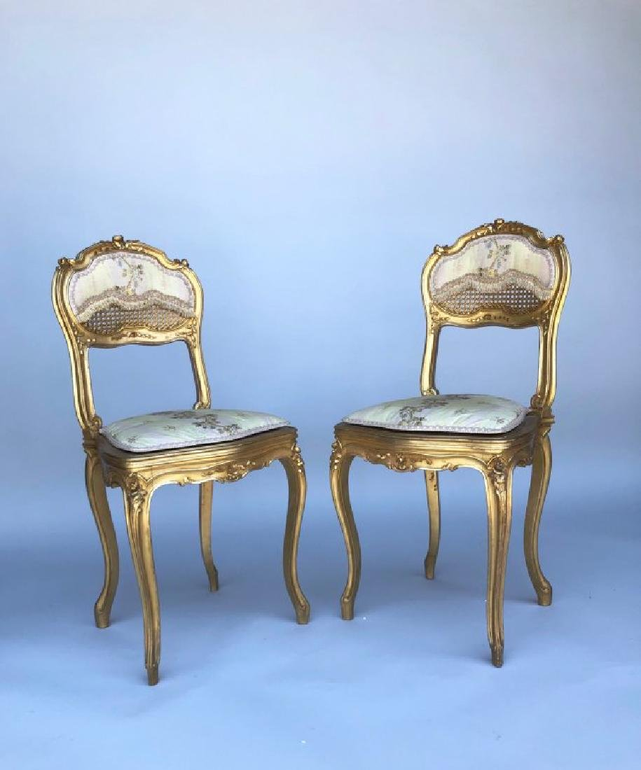 A MAGNIFICENT 5 PIECE GILTWOOD SALON SET CIRCA 1880 - 5