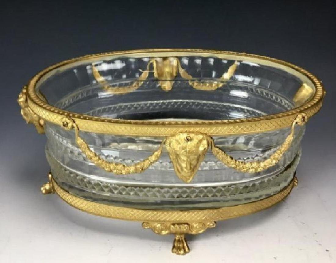 AN EMPIRE STYLE DORE BRONZE AND BACCARAT GLASS BOWL