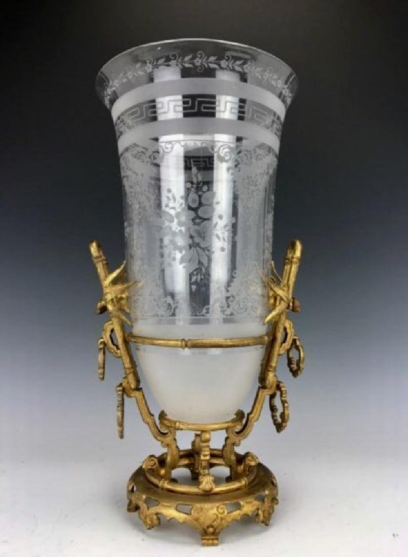 DORE BRONZE AND ETCHED BACCARAT GLASS JAPONAISM VASE