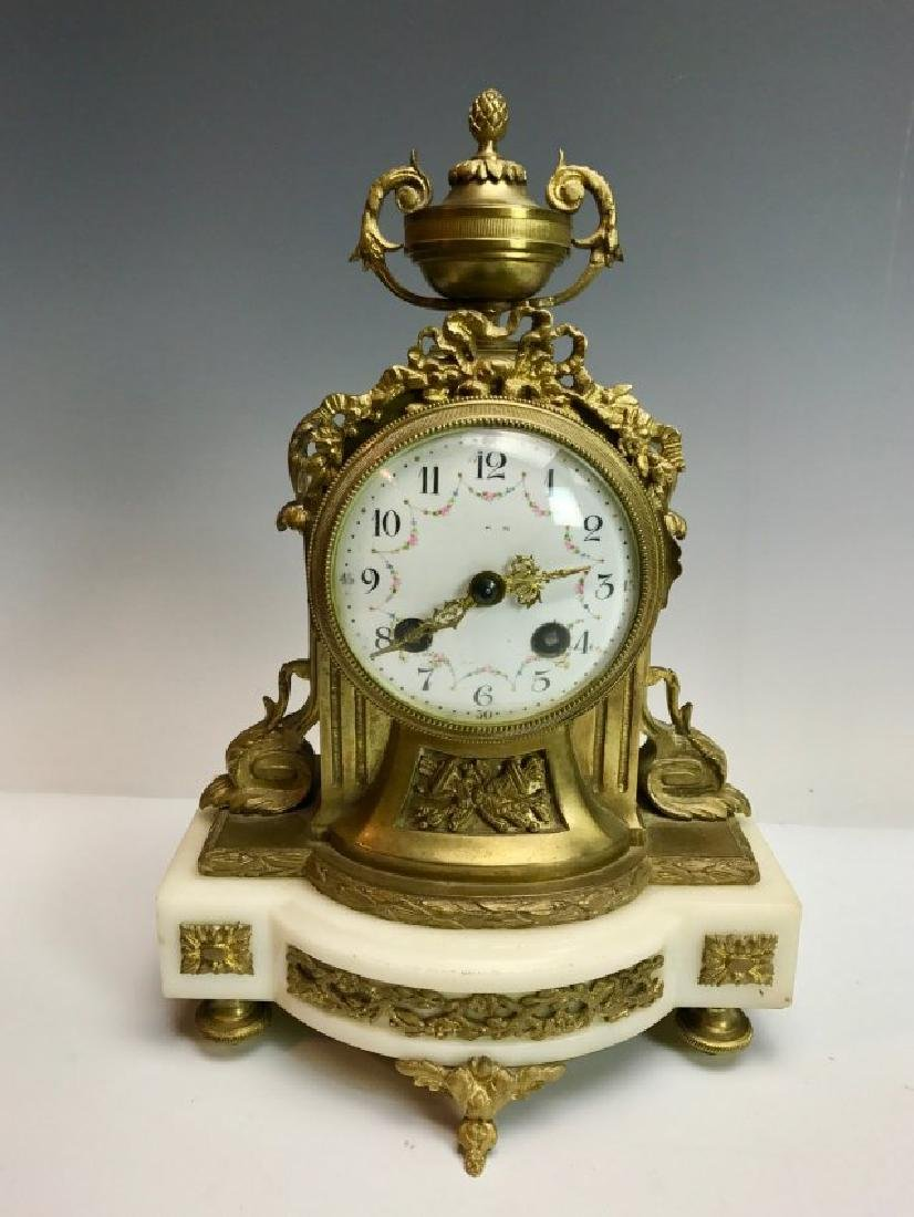 19TH C. DORE BRONZE AND MARBLE CLOCK
