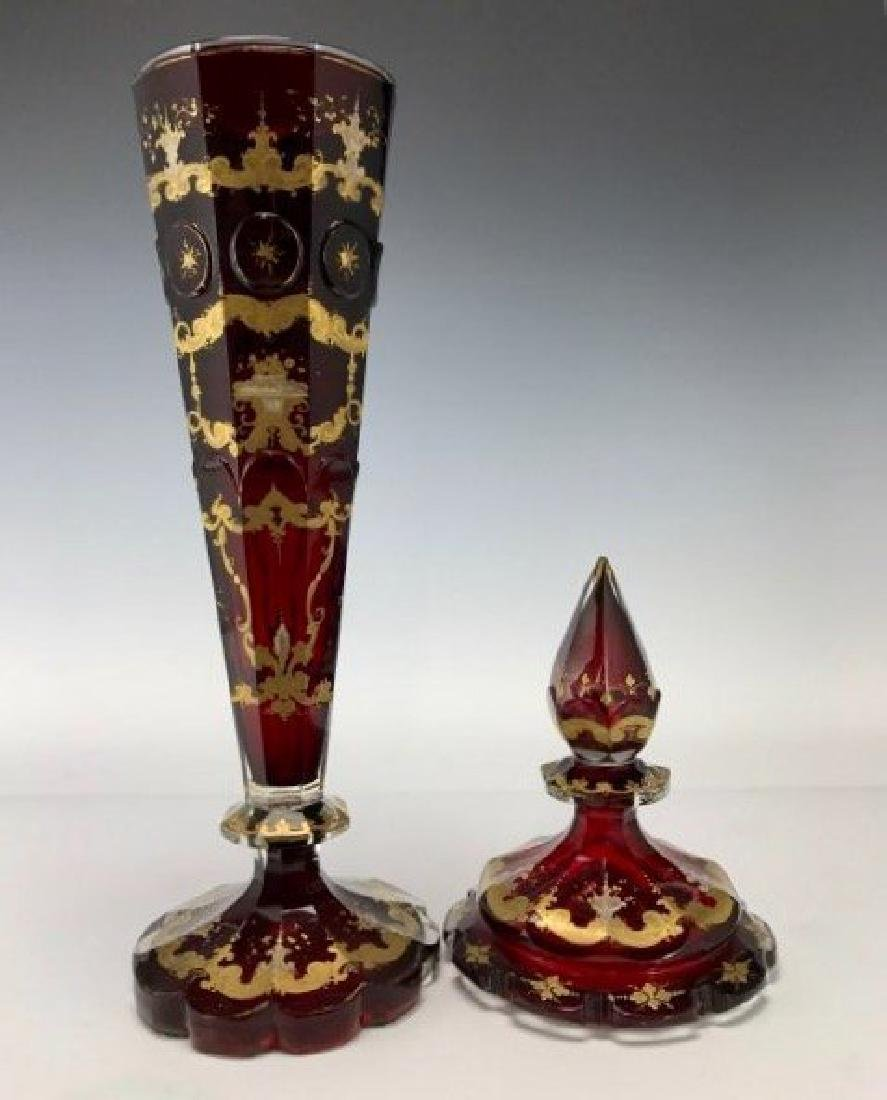 19TH C. BOHEMIAN GILT AND ENAMELLED POKAL - 2