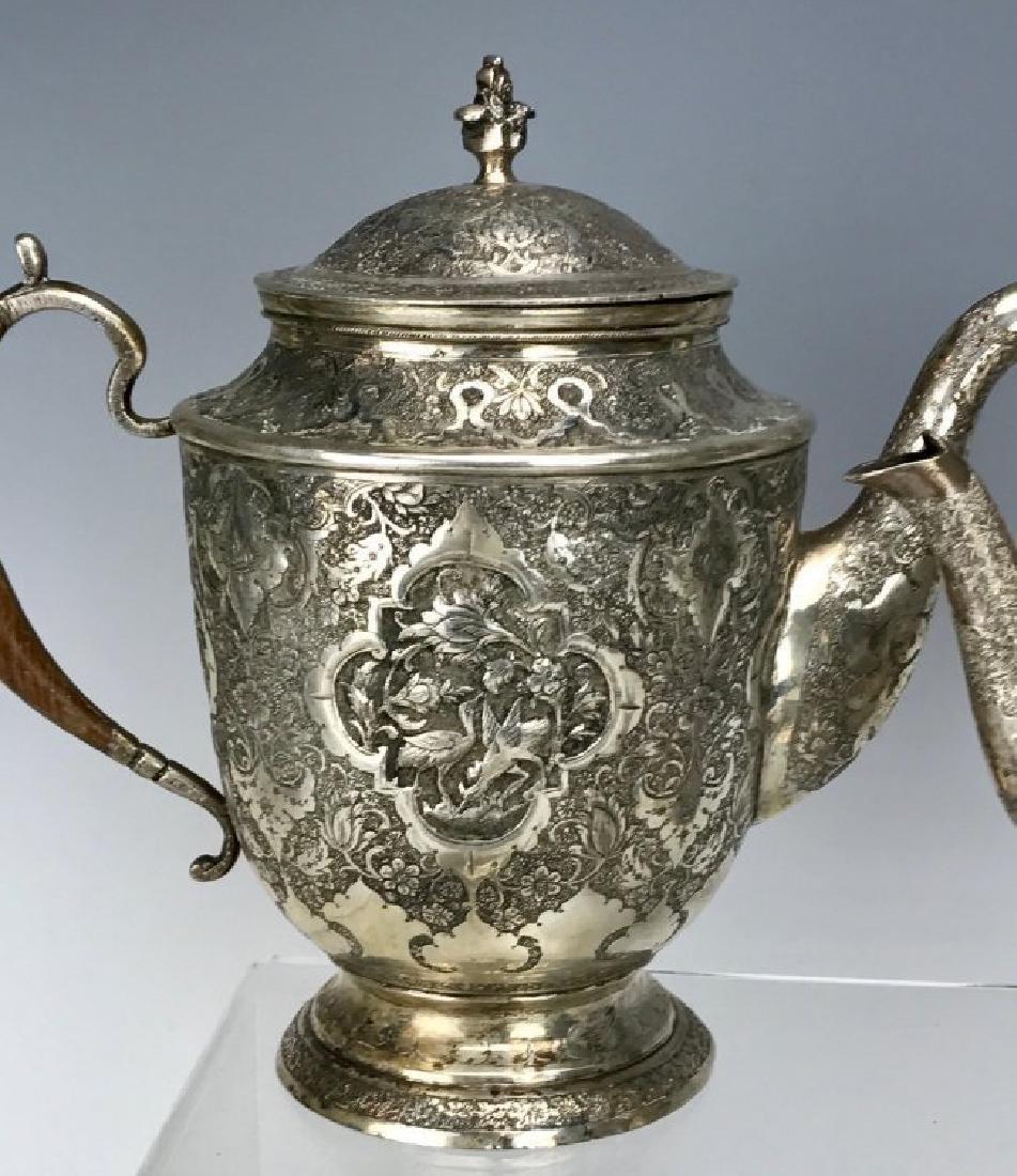 A FINE PERSIAN SILVER 4 PIECE TEA SET - 2