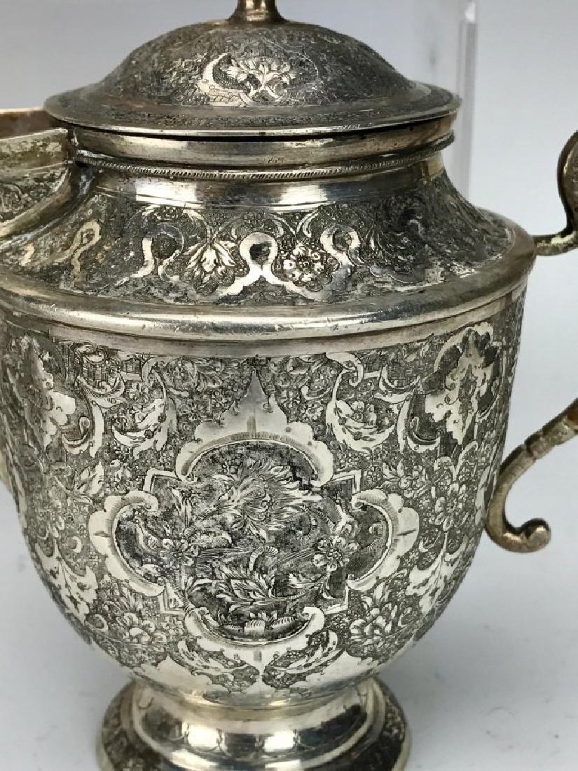 A FINE PERSIAN SILVER 4 PIECE TEA SET - 3
