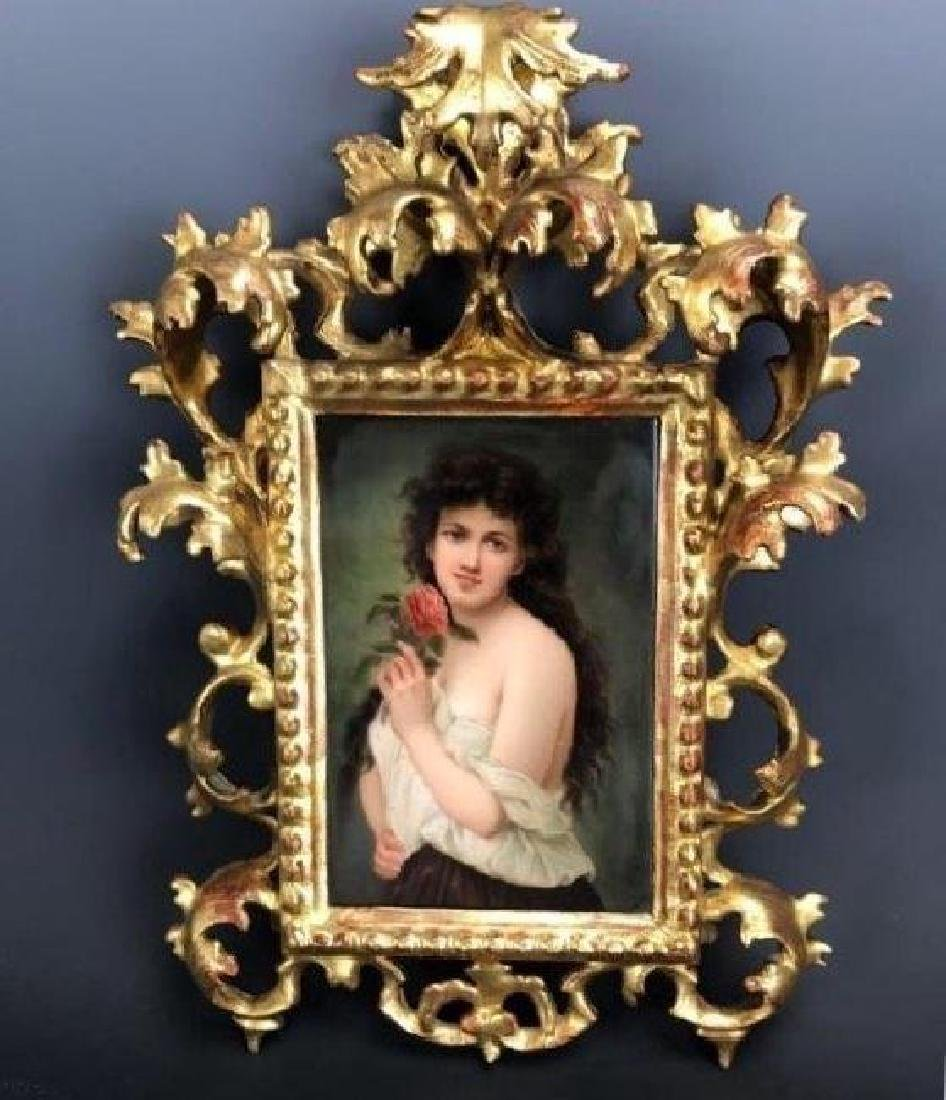 19TH C. KPM STYLE PORCEAIN PLAQUE WITH GILTWWOD FRAME